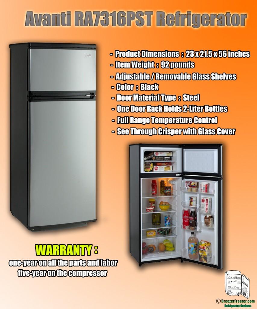 Avanti RA7316PST Refrigerator - Infographic