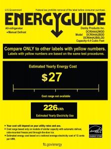Danby DCR044A2BDD Refrigerator energy guide