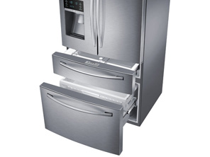 Samsung RF28HMEDBSR Refrigerator view inside and drawers
