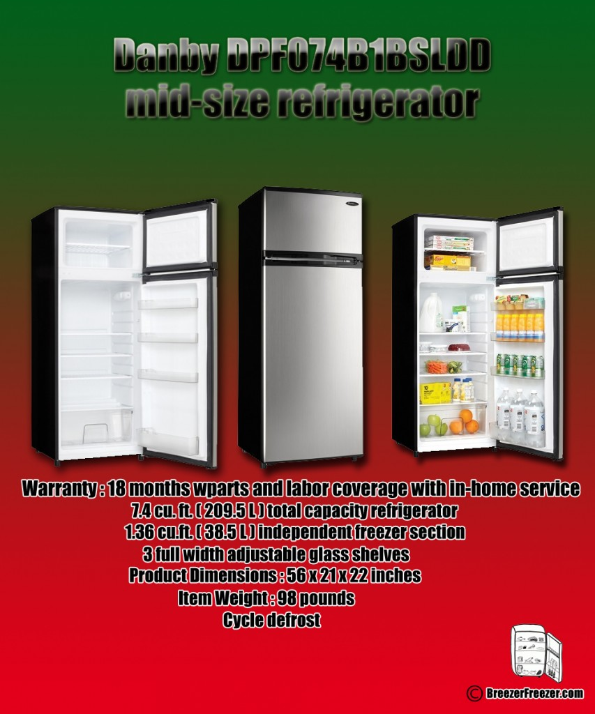 Danby DPF074B1BSLDD mid-size refrigerator - Infographic