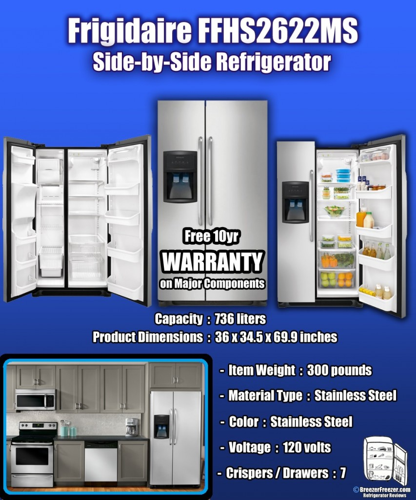 Frigidaire FFHS2622MS Side-by-Side Refrigerator - Infographic