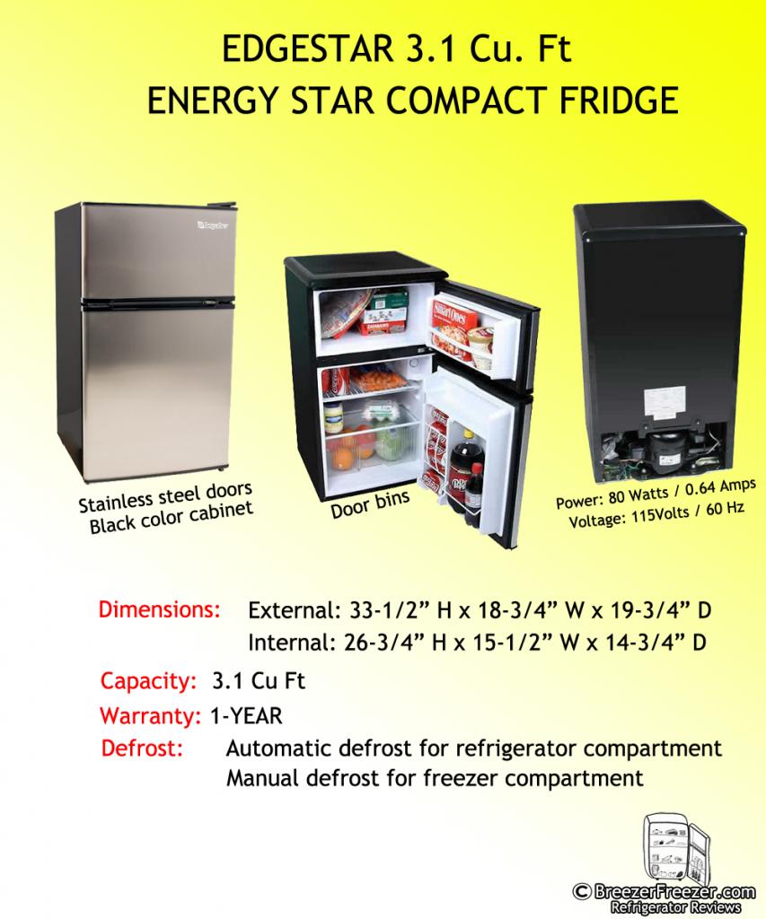 EDGESTAR 3.1 Cu. Ft. ENERGY STAR COMPACT FRIDGE - Infographic
