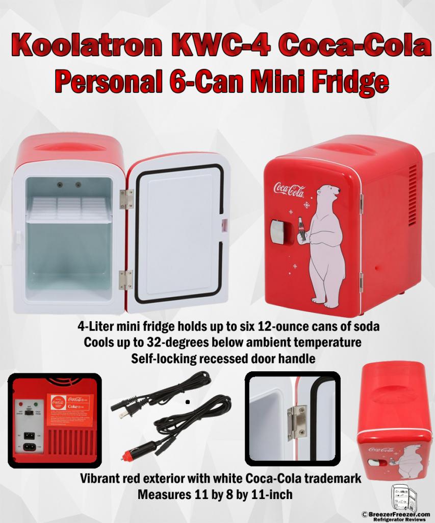 Koolatron KWC-4 Coca-Cola Personal 6-Can Mini Fridge - Infohraphic